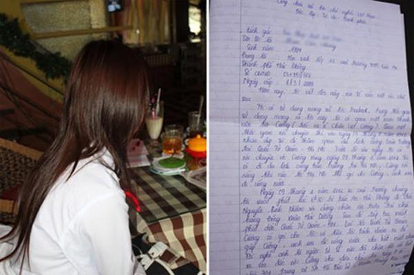 Lá thư gồm 3 trang tố cáo Châu Việt Cường hiếp dâm của nữ sinh Hải Phòng.