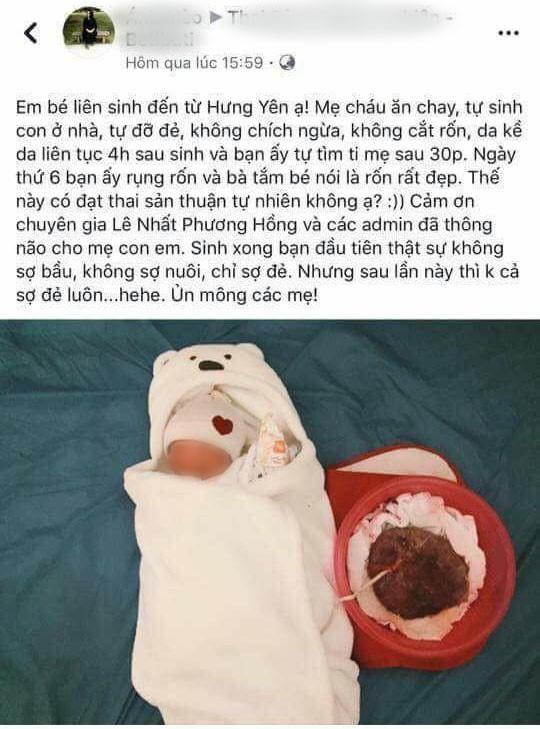Hình ảnh chụp lại 1 status được cho là của một bà mẹ sinh con theo phương pháp đẻ hoa sen (Nguồn: Internet)