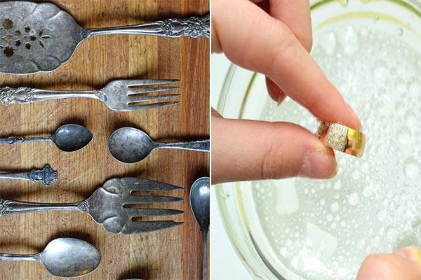 Trang sức hay đồ dùng bằng vàng, bạc, đặc biệt là mạ vàng hoặc bạc xưa cũ thì không nên sử dụng baking soda để làm sạch.