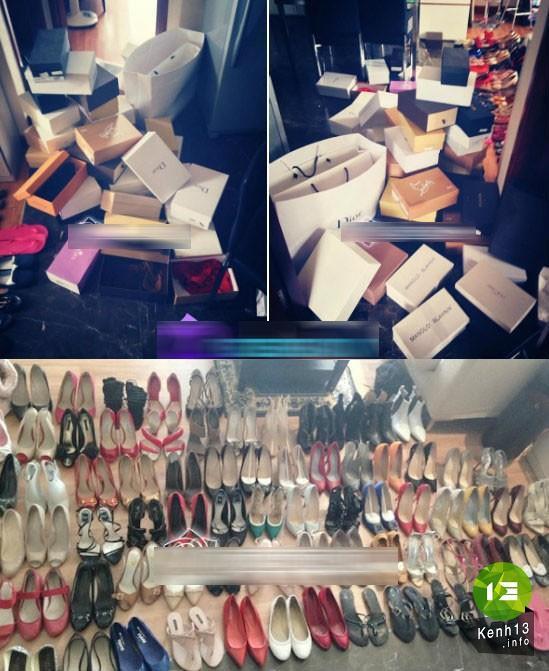 Bộ sưu tập giầy của Mai Phương Thuý nhiều như một cửa hàng giầy với đầy đủ các thương hiệu nổi tiếng và đắt tiền.