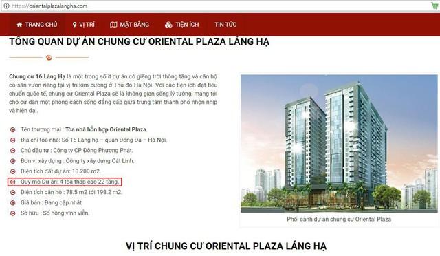 Dự án Chung cư Oriental Plaza có địa chỉ tại số 16 Láng Hạ, quận Ba Đình, Hà Nội