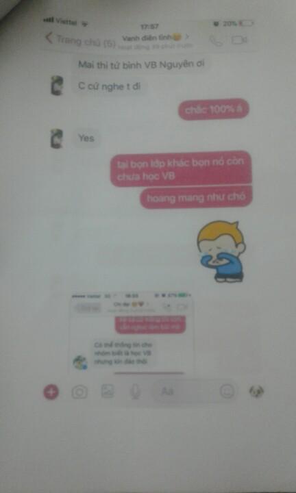 Tin nhắn được cho là của học sinh rủ nhau học VB sau khi tài khoản Ngọc Yến khuyên nên học VB.