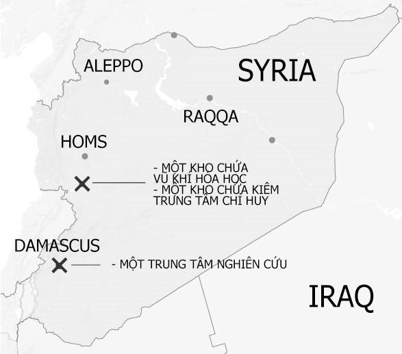 Các địa điểm bị tấn công mà liên quân Mỹ - Anh - Pháp cho là cơ sở liên quan đến hoạt động lưu trữ và chế tạo vũ khí hóa học của chính quyền Syria. Ảnh: Reuters.