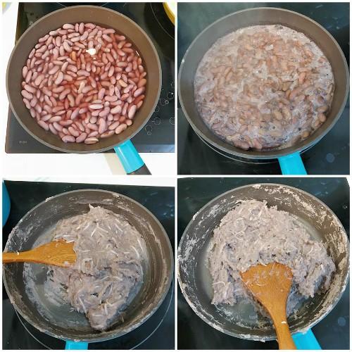 Hạt sen sau khi ngâm, đun với nước cho mềm rồi đem xay nhuyễn. Sau đó, cho lại lên chảo, đổ đường vào, sên đến khi thành một khối nặn không dính tay là được.