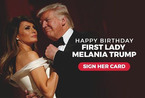 Bức ảnh được ông Trump đính kèm trong email kêu gọi mọi người ký tên chúc mừng sinh nhật bà Melania. Ảnh: Twitter