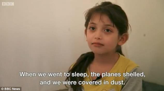 Bé gái 7 tuổi trả lời BBCnews trong nỗi sợ hãi về cuộc tấn công trước đó.