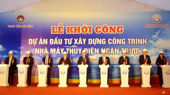 Phó Thủ tướng Vương Đình Huệ tham gia khởi công Công trình thủy điện Ngàn TRươi