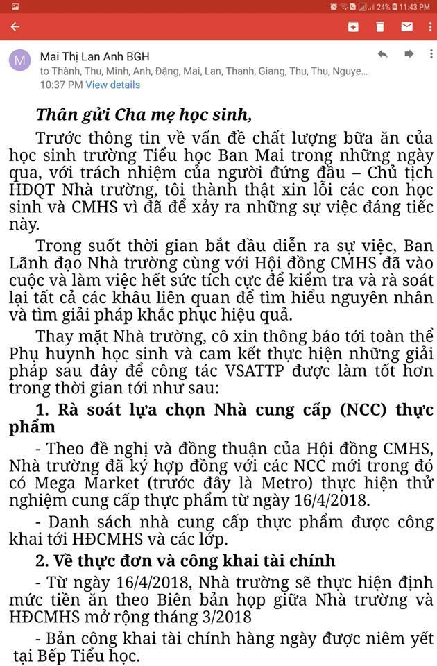 Chủ tịch HĐQT Mai Thị Lan Anh viết thư xin lỗi.