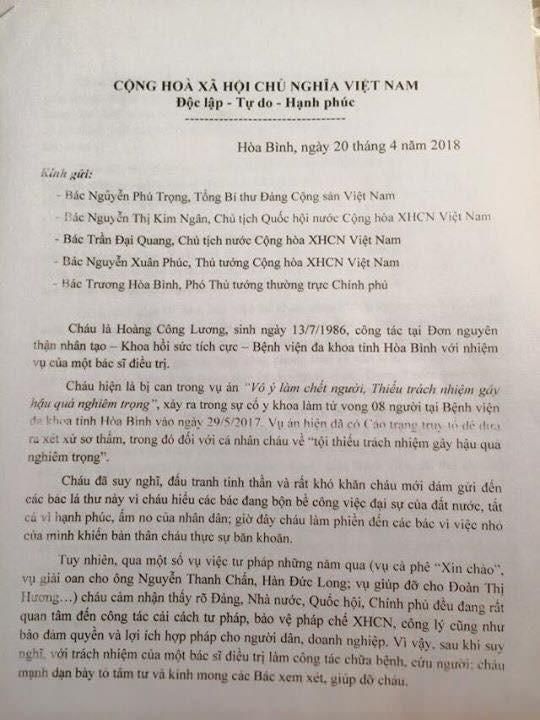 Tâm thư của bác sĩ Hoàng Công Lương