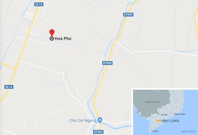 Quốc lộ 1A qua xã Hòa Phú (huyện Long Hồ, tỉnh Vĩnh Long). Ảnh: Google Maps.