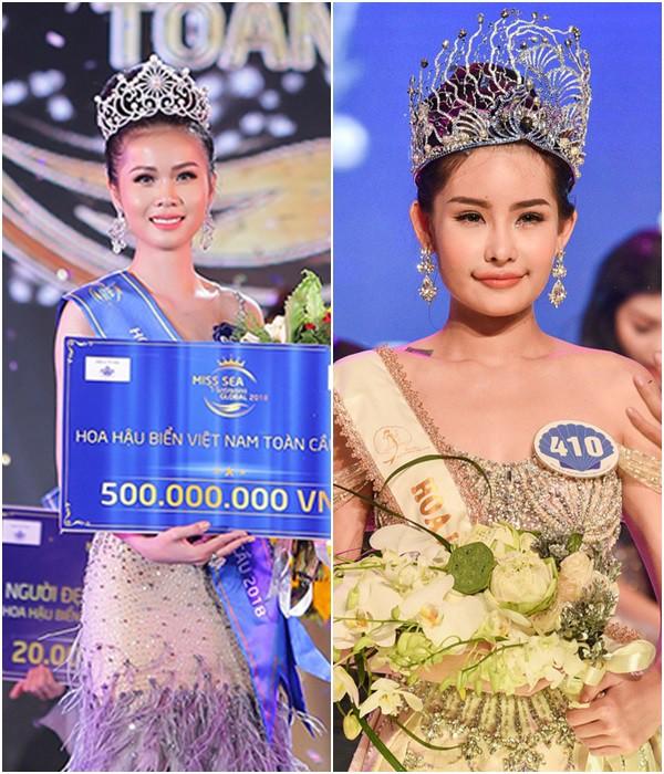 Kim Ngọc (trái) thất bại ở Hoa hậu Đại dương đã đăng quang Hoa hậu Biển Việt Nam toàn cầu