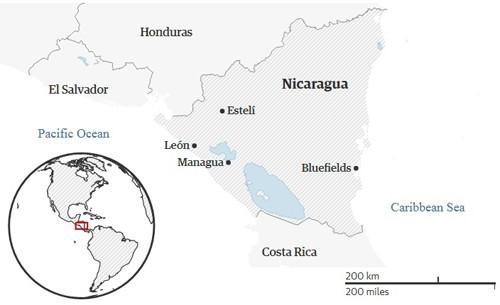 Bản đồ vị trí các thành phố xảy ra biểu tình ở Nicaragua. Ảnh: Guardian.