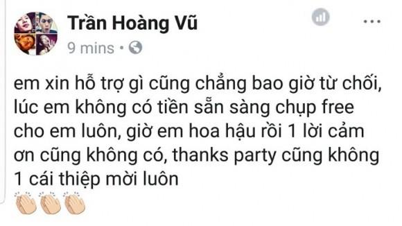 Dòng trạng thái được cho là ám chỉ Hoa hậu Chuyển giới Hương Giang