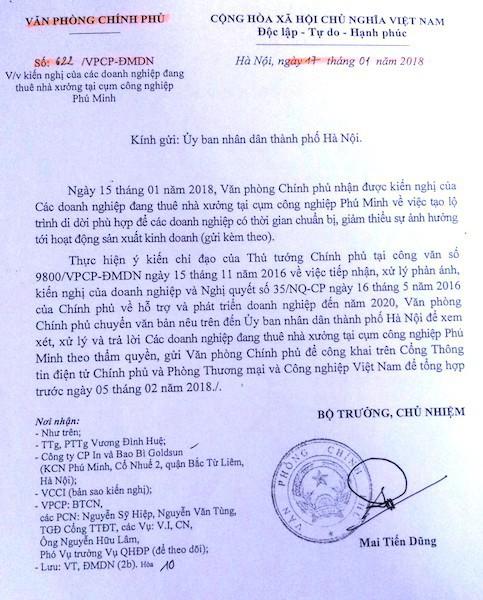 Công văn số 622 của Văn phòng Chính phủ