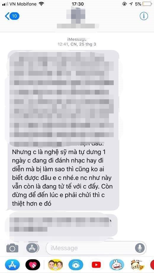 Một tin nhắn đe dọa mà Võ Hoàng Yến nhận được.