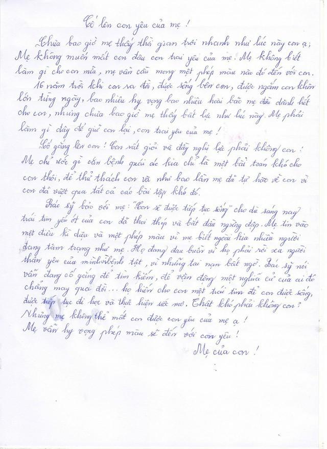 Bức thư người mẹ gửi người con trai mắc suy tim giai đoạn cuối 16 tuổi.