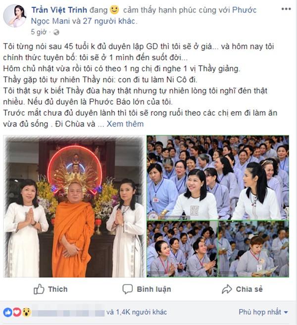 Việt Trinh tuyên bố: Tôi sẽ ở một mình đến suốt đời.