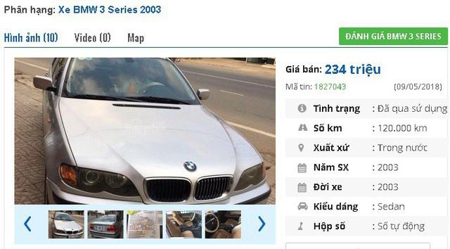 """Chiếc BMW 3 Series 318i AT năm sản xuất 2004, màu đen, nhập khẩu này có giá bán 285tr. Xe được giới thiệu là đã nâng cấp 4 đèn bi xenon, 6 CD, 6 túi khí an toàn, ABS, EPS, rèm che tự động, lazang đúc, đèn sương mù, ghế da xịn nguyên bản, điều hòa tự động, gương kính chỉnh điện tự động"""""""
