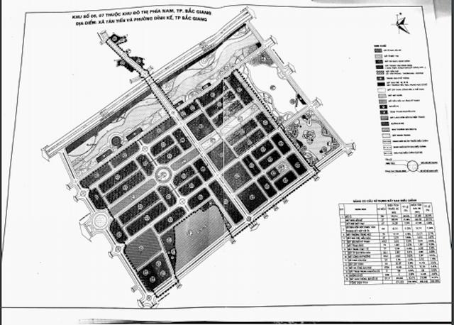 Bản đồ quy hoạch khu đất 46ha mà trong đó có 14,25 ha đất ở phân lô bán nền tại khu đô thị phía nam TP Bắc Giang mà Công ty TNHH Tân Thịnh sẽ được đối ứng sau khi thực hiện dự án Xây dựng cầu Đồng Sơn và đường lên cầu theo hình thức hợp đồng BT.