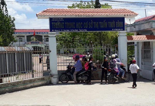 Trường THCS TT Thới Bình (Cà Mau) nơi thầy S. công tác