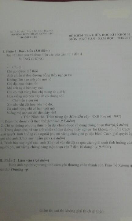 Và quả nhiên, đề thi có 2 câu thì một câu có chồng, một câu có vợ. Cả đề thi được cô Yến phán đoán trúng phóc 100%.