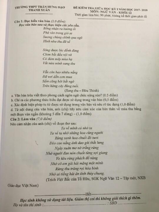 Trích đoạn tác phẩm Việt Bắc trong tin nhắn cô Ngọc Yến gửi học sinh trúng phóc với phần đề thi chiếm 7 điểm.