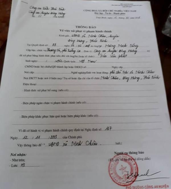 Thông báo xử phạt hành chính đối với cán bộ xã Minh Châu tham gia đánh bạc trong giờ hành chính. Ảnh: Cơ quan Cơ quan Công an cung cấp