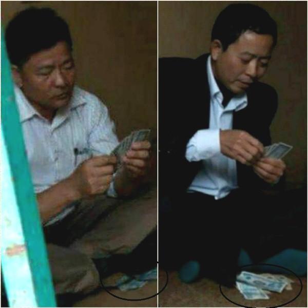Bí thư Đảng ủy và Phó chủ tịch UBND xã Minh Châu tham gia đánh bạc. Ảnh: Cắt từ clip