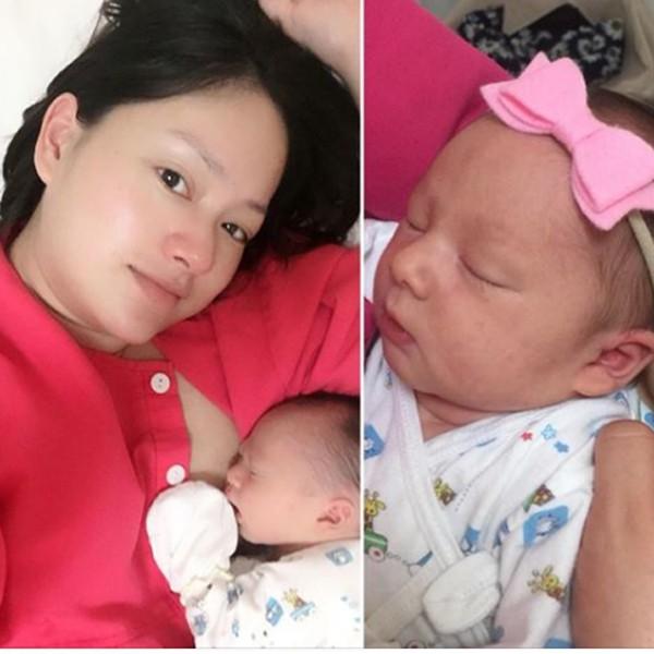 Lan Phương hạnh phúc khoe con gái mới sinh.