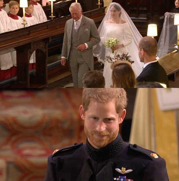Vẻ mặt của Hoàng tử khi lân đầu trông thấy cô dâu xinh đẹp.