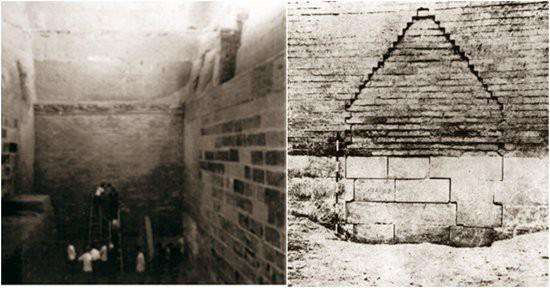 Bức tường phong tỏa lối vào địa cung của Hoàng đế Vạn Lịch. (Ảnh: Nguồn Baidu).