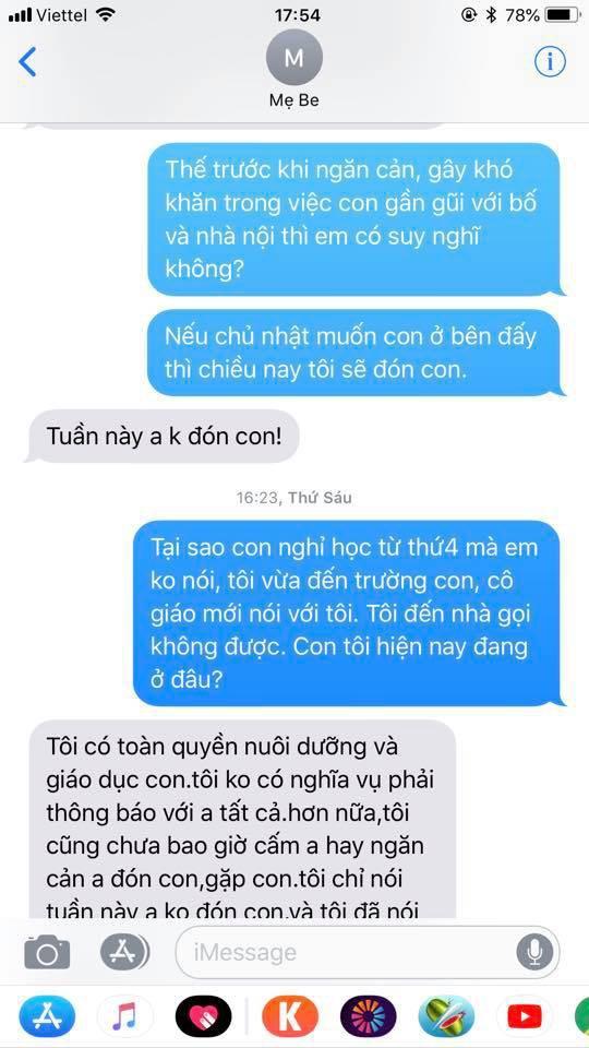 Chí Nhân tung đoạn tin nhắn với vợ cũ sau ồn ào bị ngăn cấm không cho gặp con