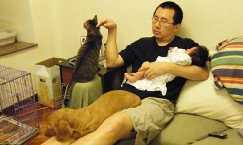 Các bức ảnh người cha Wong Ting-man đang ôm con gái Tiffany nằm trên ghế sofa, bên cạnh là một chú chó và chú mèo đã được gần 10.000 lượt thích chỉ sau vài ngày chia sẻ.