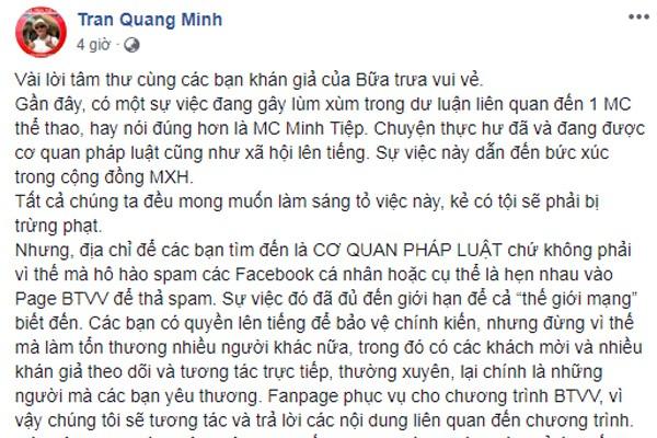 BTV Quang Minh bức xúc vì fanpage của Bữa trưa vui vẻ bị ảnh hưởng sau lùm xùm của MC Minh Tiệp.