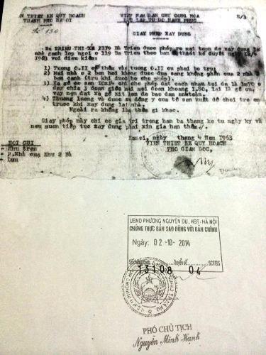 Giấy phép xây dựng cấp cho bà Triệu Thị Xe năm 1963 với ngôi nhà 119 Bà Triệu.