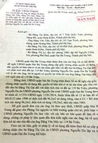 Thông báo số 819/UBND-TNMT của UBND quận Hai Bà Trưng, Hà Nội