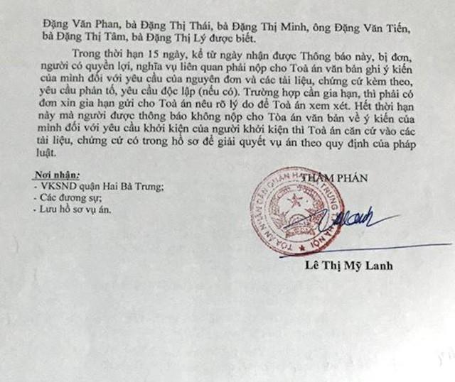 Thông báo thụ lý vụ án dân sự số 52/2018/TLST-DS của TAND quận Hai Bà Trưng, Hà Nội