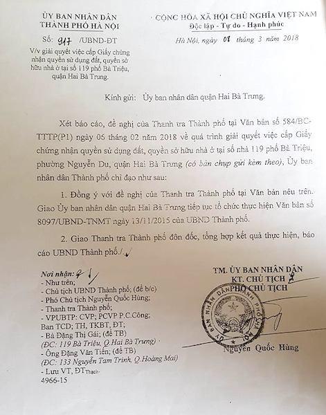 Văn bản số 917/UBND-ĐT của UBND TP. Hà Nội
