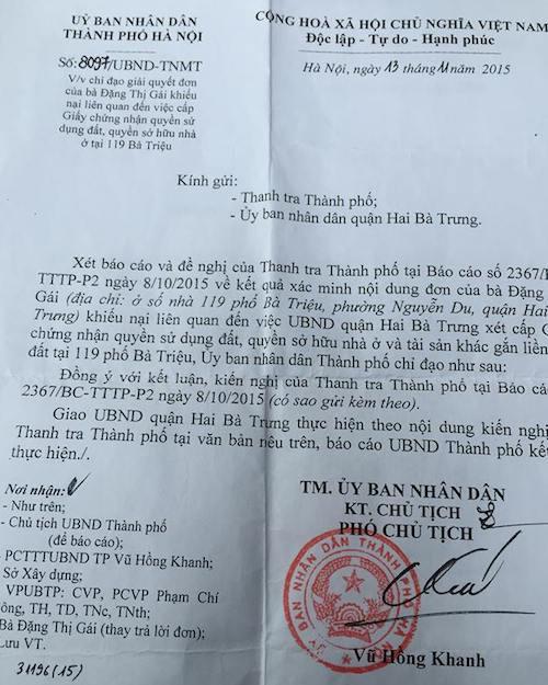 Văn bản số 8097/UBND-TNMT của UBND TP. Hà Nội