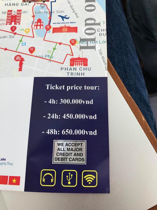 Giá vé buýt 2 tầng.