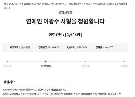 Bản kiến nghị xử tử Lee Kwang Soo bị những kẻ cực đoan gửi tới Nhà Xanh.