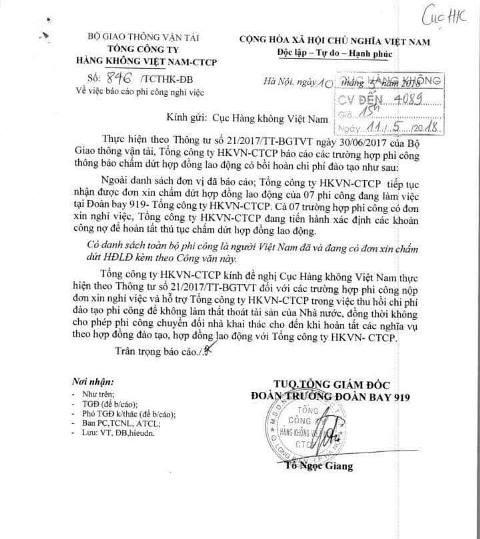 Báo cáo phi công nghỉ việc và đề nghị Cục Hàng không Việt Nam hỗ trợ thu hồi chi phí đào tạo phi công.