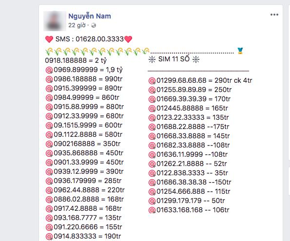 SIM số đẹp 11 số lập tức tăng giá mạnh sau khi được chốt ngày rút gọn xuống thanhf 10 số. Ảnh: TL