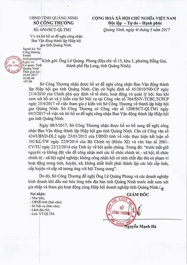 Văn bản của Sở Công thương Quảng Ninh không chấp nhận cho việc thành lập Hiệp hội gas Quảng Ninh. (ảnh: HC)
