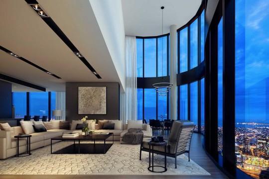 """Không gian sống của căn hộ nằm trên tầng cao nhất của tòa tháp """"Australia 108"""" Ảnh: ABC"""