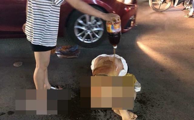 Cô gái bị đánh, đổ nước mắm lên người - Ảnh: FB