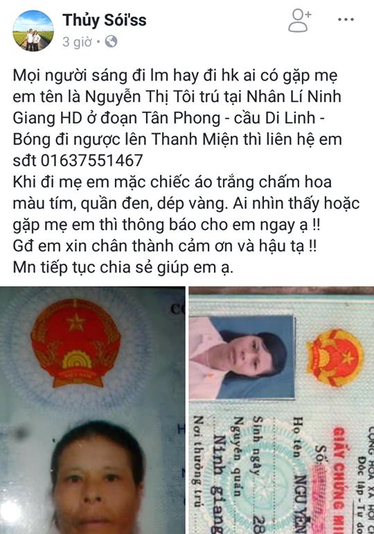 Thông tin tìm người nhà do con gái bà Tôi chia sẻ trên mạng xã hội. Ảnh: Đ.Tùy