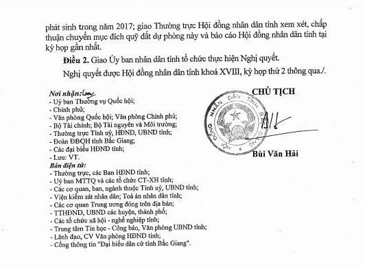 Nghị quyết số 30/NQ-HĐND của HĐND tỉnh Bắc Giang