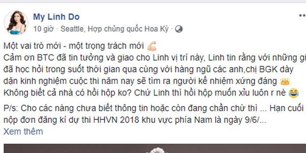 Đỗ Mỹ Linh chia sẻ vai trò mới của mình tại cuộc thi Hoa hậu Việt Nam 2018.