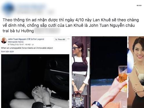 Một fanpage về showbiz bất ngờ đăng tải thông tin Lan Khuê sẽ kết hôn vào tháng 10 này